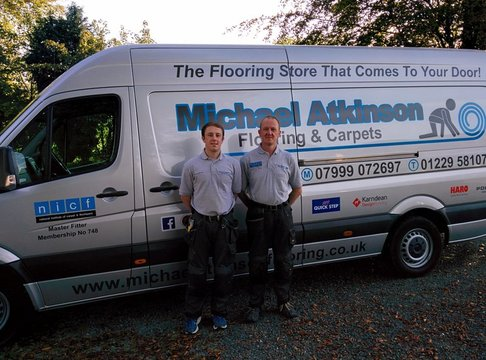James and Michael Atkinson with the flooring store that comes to your door